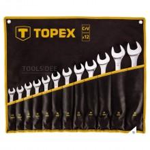 TOPEX ring/steeksleutelset 10-32mm 12 delig