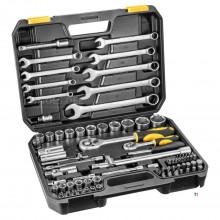 TOPEX doppenset 1/4' 1/2' + sleutels 81 delig crv staal