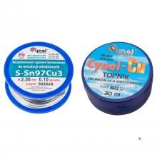 TOPEX cynel soldeerset, tin 2,5mm +100gr soldeerpasta sn97%