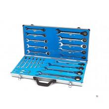 Anello professionale HBM da 22 pezzi, cricchetto, set di chiavi aperte