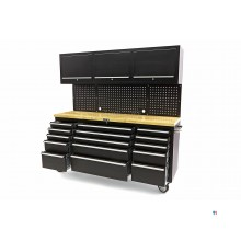 HBM 182 cm Workbench with Cabinet Wall and Wooden Blade Black