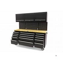 HBM 182 cm arbeidsbenk med kabinettvegg og treblad svart
