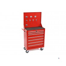 HBM 7 drawers tool trolley with tool wall and 8 hooks - red