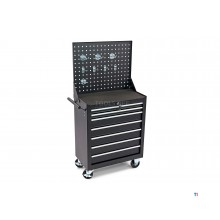 HBM 7 drawers tool trolley with tool wall and 8 hooks - black