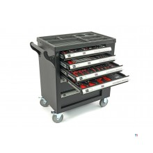 HBM 154-piece premium filled tool trolley with door and carbon inlays - black