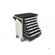 HBM 245-piece premium filled tool trolley with door and carbon inlays