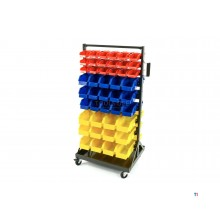 HBM Mobile Storage Rack With 90 Storage Bins
