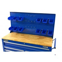 HBM back wall with 12 trays and 12 hooks for the HBM 117 cm mobile tool trolley blue