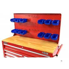 HBM back wall with 12 trays and 12 hooks for the HBM 117 cm mobile tool trolley red