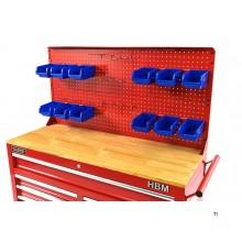 HBM bakvegg med 12 skuffer og 12 kroker til HBM 117 Cm Mobile Tool Trolley RED