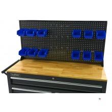 HBM Rückwand Mit 12 Tabletts und 12 Haken für den HBM 117 Cm Mobilen Werkzeugwagen SCHWARZ