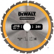 Dewalt dt1952 circular saw blade - 216 x 30 x 24t - wood (with nails) - dt1952-qz