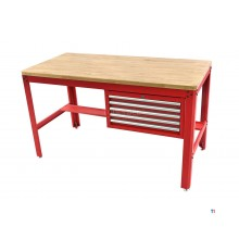 HBM 155 cm professional workbench with 5 drawers and wooden worktop, red