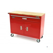 HBM 117 cm professional mobile tool trolley / workbench - red