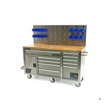 HBM 158 cm 10 Drawers Workbench with Door and Rear Wall - Stainless Steel