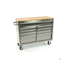 HBM 117 cm Mobile Tool trolley, Workbench with Wooden worktop - Stainless steel