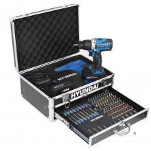 Trapano a batteria Hyundai Professional 20V 2.0 Ah in custodia in alluminio con accessori da 100 pezzi