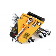 Stanley 4-89-907 6 piece stitch, ring, ratchet wrench set from 10 to 19 mm.