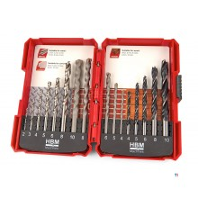 HBM 16 Piece, Muron Drills, Wood Spiral Drills and Metal Drill Bit Set