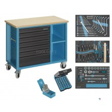Hazet 177w-7/169 169-piece mobile filled workbench with tools - 7 drawers