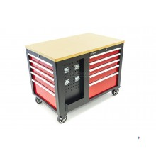 HBM Mobile Workstation, Workbench, Tool trolley With 10 Drawers and Cabinet
