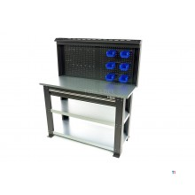 HBM professional 137 cm. steel 3-layer workbench with drawer and rear wall
