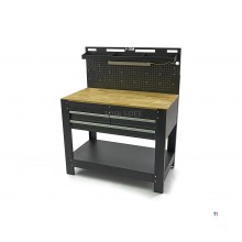 HBM Workbench with 3 drawers, back wall, LED lighting and power strip