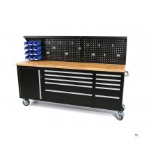 HBM 215 cm. tool trolley / workbench with wooden worktop including back wall