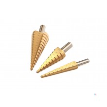 HBM hss tin coated step hole drills / step drills
