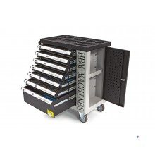Carro de herramientas lleno de 262 piezas HBM con 7 cajones y puerta con incrustaciones de ESPUMA.