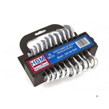 HBM 10 stykke kort engelsk søm - ring nøkkel sett