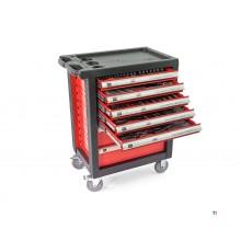 Carro de herramientas con relleno premium HBM de 196 piezas - ROJO