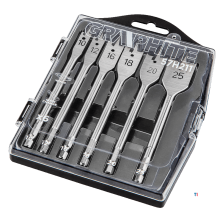 GRAPHITE butterfly drill set 10-25mm hexagonal connection, 10% turned, in presentation box