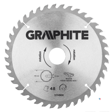 GRAPHITE circular saw blade 190mm 40t blade 190mm, arbor hole 30mm, teeth 40, thickness 2.0mm, cutting thickness 2.8mm, geometry