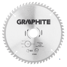 GRAPHITE circular saw blade 216mm 60t blade 216mm, arbor hole 30mm, teeth 60, thickness 2.0mm, cutting thickness 2.8mm, geometry