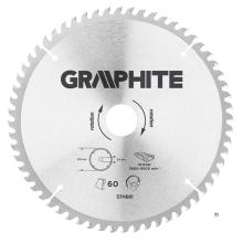 GRAPHITE circelzaagblad 216mm 60t blad 216mm, asgat 30mm, tanden 60, dikte 2,0mm, zaagdikte 2,8mm, geometry atb, materiaal c50 s