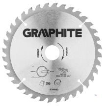 GRAPHITE circelzaagblad 205mm 36t blad 205mm, asgat 30mm, tanden 36, dikte 2,0mm, zaagdikte 2,8mm, geometry atb, materiaal c50 s