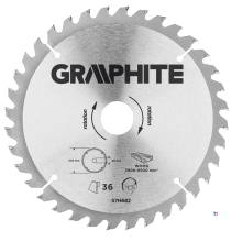 GRAPHITE sirkelsagblad 205mm 36t blad 205mm, borhull 30mm, tenner 36, tykkelse 2.0mm, skjæretykkelse 2.8mm, geometri atb, materi