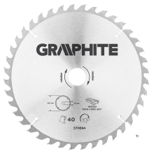 GRAPHITE circular saw blade 250mm 40t blade 250mm, arbor hole 30mm, teeth 40, thickness 2.0mm, cutting thickness 2.8mm, geometry