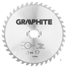 GRAPHITE circelzaagblad 250mm 40t blad 250mm, asgat 30mm, tanden 40, dikte 2,0mm, zaagdikte 2,8mm, geometry atb, materiaal c50 s