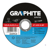GRAPHITE slipeskive 125x22x6.4mm metall 27 a30-s-bf