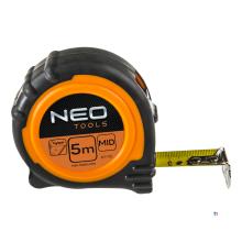 NEO ruban à mesurer 5 m, revêtement en nylon magnétique, largeur de bande de 19 mm, boîtier antidérapant en caoutchouc