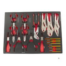 Ensemble de pinces et poinçons HBM 17 pièces avec incrustation en mousse de carbone pour chariot à outils