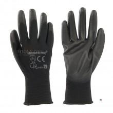 Silverline PU handske med sort palme Stor