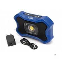 HBM 1000 Lumen dæmpbar genopladelig LED konstruktionslys med Bluetooth-højttaler