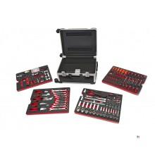HBM Professional 238-teiliger Werkzeugkoffer, Werkzeugwagen mit Carboneinlagen
