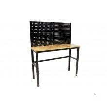 HBM 131 cm. workbench with wooden worktop and rear wall
