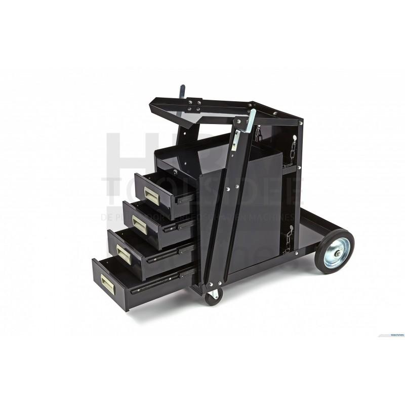 Schweißwagen mit 4 Schubladen Schwarz Schweißmobil Schweißgerätewagen 73,5x72 cm