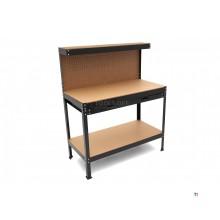 Banc de lucru cu 2 straturi HBM cu sertar, perete din spate și set de cârlig de 20 de bucăți