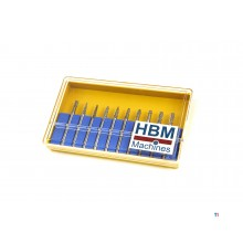 HBM 10-piece hm router bit set with 3 mm. recording